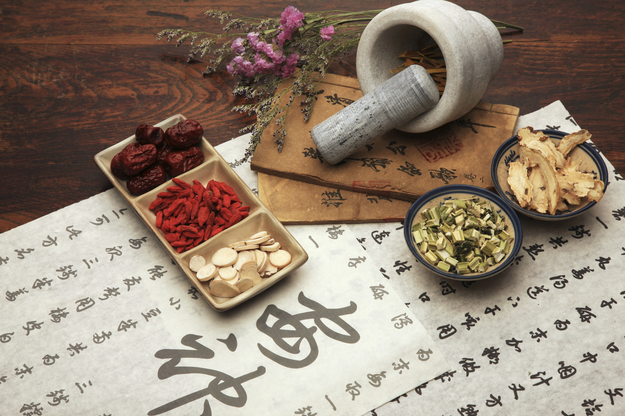 A set of Chinese herbal medicine and tea set